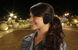 Glittery Black Ear Mitts